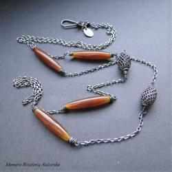 srebro,agat,minimalistyczny,delikatny,oksydowany - Naszyjniki - Biżuteria