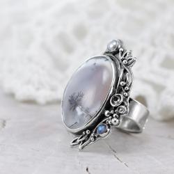 agat dendrytowy,pierścionek z agatem - Pierścionki - Biżuteria