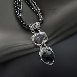 srebrny,naszyjnik,sznur kamieni,z onyksem - Naszyjniki - Biżuteria