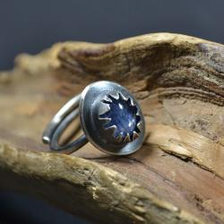 retro pierścionek,pierścionek z kyanitem - Pierścionki - Biżuteria