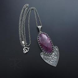 srebrny,wisior,długi,z rubinem - Wisiory - Biżuteria