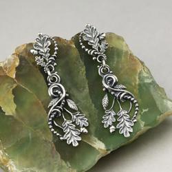 lekkie,liście dębu,kolczyki,driada,fantasy - Kolczyki - Biżuteria