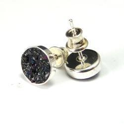 węglik,srebrne,teczowe,mineralne,karborund - Kolczyki - Biżuteria
