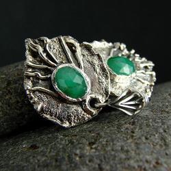 srebro,szmaragd,kolczyki,sztyfty - Kolczyki - Biżuteria