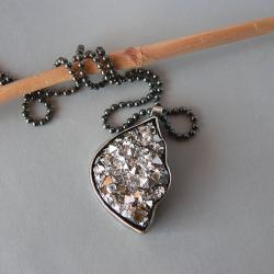 agat,druza,druzza,srebrny łańcuszek - Wisiory - Biżuteria