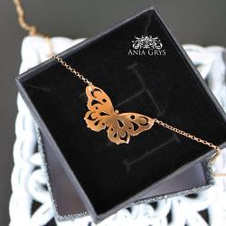 pozłacany,motyl,naszyjnik,ażurowy - Naszyjniki - Biżuteria