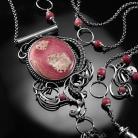 Naszyjniki srebrny,naszyjnik,wire-wrapping,rodochrozyt,ciba