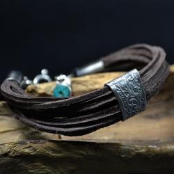 bransoleta z rzemieni,surowa bransoleta - Bransoletki - Biżuteria