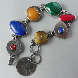 z koralem,z malachitem,kute srebro - Bransoletki - Biżuteria