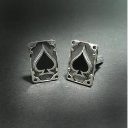 spinki do mankietów,pik,srebro - Dla mężczyzn - Biżuteria