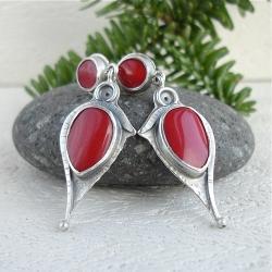 czerwone,koralowe,elegancja - Kolczyki - Biżuteria