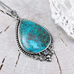 azuryt,topaz,niebieski wisiorek,na święta - Naszyjniki - Biżuteria