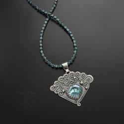 naszyjnik,srebrny,z kryształem,z kamieniem mocy - Naszyjniki - Biżuteria