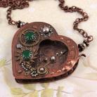 Naszyjniki serce,steampunk,mechanizm,zegar,unikat