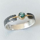 Pierścionki srebrno-złoty pierścionek z diamentem