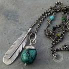 Naszyjniki srebro,boho,turkus,hippie,pióro,oksydowany