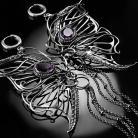 Kolczyki srebrne,kolczyki,motyle,wire-wrapping,ametyst,ciba