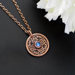 naszyjnik,kamień księżycowy,niebieski,malutki - Naszyjniki - Biżuteria