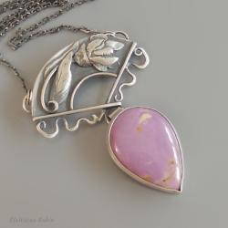 purpuryt,artystyczny,ręczna robota,ela rubin - Naszyjniki - Biżuteria