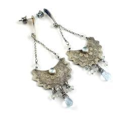 kolczyki,topaz,błękitne,orientalne,trawione,srebro - Kolczyki - Biżuteria
