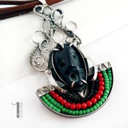 naszyjnik srebrny,maska,wirewrapping,925 - Naszyjniki - Biżuteria