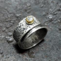 srebrny pierścionek z diamentem - Pierścionki - Biżuteria