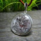 Wisiory srebrny,okrągły,brązowy,żywica,radeckaart