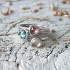 Pierścionki komplet pierścionków,morganit i turmaliny