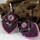 Kolczyki Purpurowo różow,bogate kolczyki w stylu indyjskim