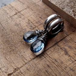 delikatne,subtelne,niebieskie,komplet,z kwarcem, - Kolczyki - Biżuteria