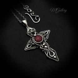 Srebrny krzyż,celtycki,thulit,wire wrapping. - Wisiory - Biżuteria