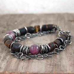 bransoleta ze srebra,bursztynów,rubinów - Bransoletki - Biżuteria