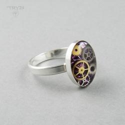 pierścionek steampunk,z fioletowym oczkiem, - Pierścionki - Biżuteria