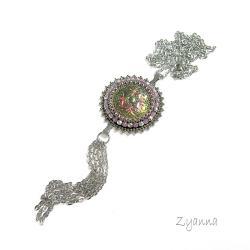 naszyjnik,długi,boho,z chwostem,róż - Naszyjniki - Biżuteria
