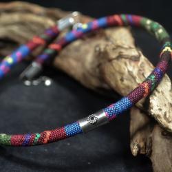 kolorowy naszyjnik ze sznura - Naszyjniki - Biżuteria