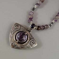 srebrny wisior z ametrynem i ametystu - Wisiory - Biżuteria