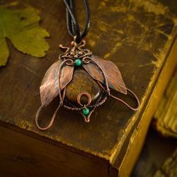 naszyjnik,owad,żuk,bronzyt,unikat,miedź,retro - Naszyjniki - Biżuteria