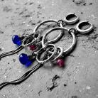 Kolczyki kobaltowe,długie,koła,z kamieniami,srebro