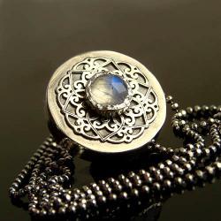 srebro,kamień księżycowy,naszyjnik,celebrytka - Naszyjniki - Biżuteria