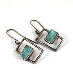 srebrne kolczyki z amazonitem - Kolczyki - Biżuteria
