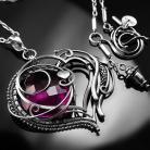 Naszyjniki srebrny,naszyjnik,serce,wire-wrapping,kwarc,fuksja