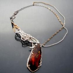 bursztyn,czerwony bursztyn,elegancki naszyjnik - Naszyjniki - Biżuteria