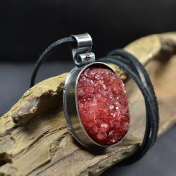 masywny wisior w czerwieni,wisior z kamieniem - Naszyjniki - Biżuteria