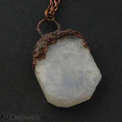 kamień księżycowy,elektroformowanie,miedź - Wisiory - Biżuteria