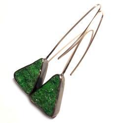 uwarowity,blask,srebrne,srebro,kryształki,zieleń, - Kolczyki - Biżuteria
