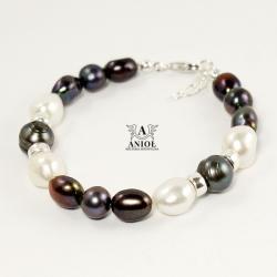 bransoleta z pereł,srebrna biżuteria - Bransoletki - Biżuteria