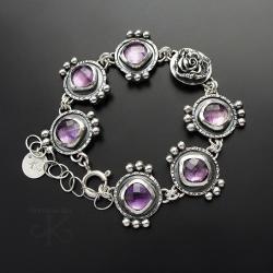 srebrna,bransoletka,z ametystem,z kwiatem - Bransoletki - Biżuteria