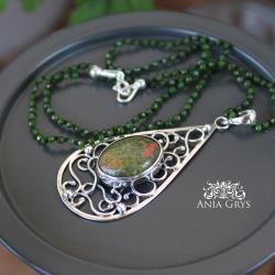 orientalny,boho,unakit,oksydowany - Naszyjniki - Biżuteria