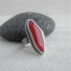pierścionek z koralem,czerwień - Pierścionki - Biżuteria