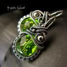 Kolczyki Nehesi,Kolczyki,ze Srebra,wire wrapping,zielonym